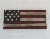 American Flag Wood Rusty Painted Metal Stars Vintage Patriotic / Price Includes Shipping
