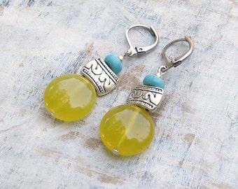 Sunshine yellow earrings Turquoise yellow stone dangle earrings Summer jewelry