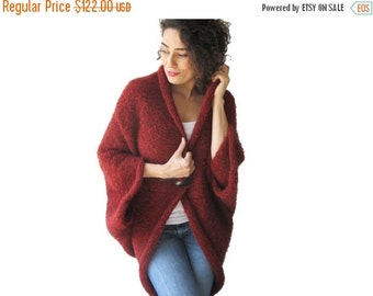 CLEARANCE 50% Plus Size Over Size Red Wool Overcoat - Poncho - Cardigan