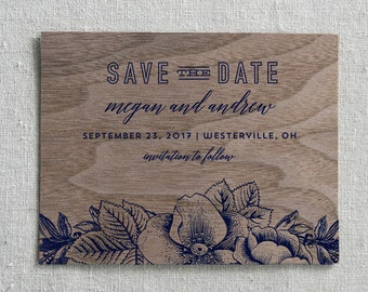 Wooden Save the Date Card, Rustic Opulence Real Wood