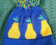 Vintage winter hat pom pom cap pears fruit blue green yellow cb sports 1970s retro style warm threads