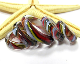 """SMAUGGS handmade beadset """"Rings"""" (5pc, 19-30mmx6mm), glass, colorful,"""