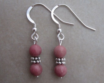 pink rhodonite sterling silver earrings