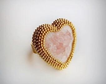 Rose Quartz Crystal Statement Ring