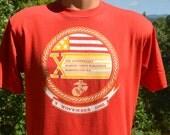 80s vintage t-shirt MARINE corps MARATHON 1985 road race usmc tee Medium Large run
