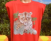 vintage 80s tank top t-shirt CAT panther cheetah leopard animal cutoff tee shirt Large red tigers