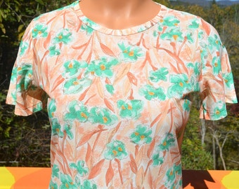 70s vintage tee women's disco FLORAL flowers orange green silky thin soft poly t-shirt Small preppy