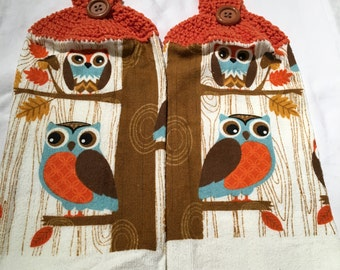 Owl Hand or Kitchen Towels set of 2