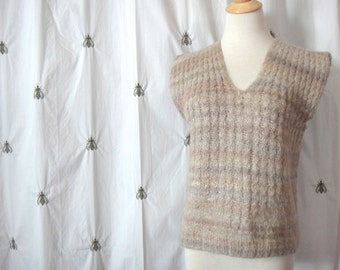 ON SALE!  Vintage Boho Handmade Cable Knit Sweater Vest, Beige with Muted Color Stripes, Top, Chunky Knit, Sleeveless, Size Large