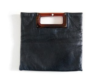 70s Black Faux Leather Foldover Envelope Clutch with Lucite Handles