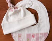 Organic Baby Hat and Bib Gift Set; TREE STRIPES PINK; Woodland Pink Newborn Baby Cap and Drool Bib Gift Set by Organic Quilt Company