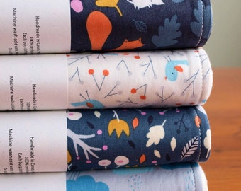 Organic Burp Cloth, Set of Two in SWEET AUTUMN DAY; Woodland Birds, Clouds, Squirrels Burp Cloths Gift Set of 2 by Organic Quilt Company