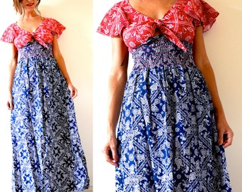 Vintage 70s Red and Navy Blue Paisley Flutter Sleeve Maxi Dress (size small, medium)