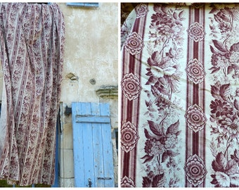 Antique  French deep burgundy 1850/1890 printed cotton fabric / Flowers & stripes  3 yards x 65 inches