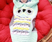 CROCHET PATTERN For Owl Child  Cocoon in 3 Sizes 1- 10 years U.K, U.S.A PDF 345 Digital Download