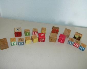 Antique Baby Building Blocks Vintage 12331 Wood Plastic