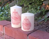 Holiday word art ornament candle set