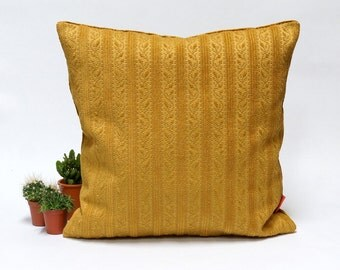 Luxury Chenille Couch Pillow, throw, custom made, goldenrod, designe, custom made pillow, vintage upholstery fabrics, 18x18 pillow cover