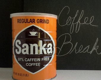 Sanka Coffee Can, 16oz 1 Pound Tin with Plastic Lid, Orange Brown