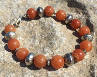 Orange Fire Agate and Silver Beaded Bracelet