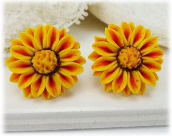 Red and Yellow Gazania Earrings Studs - Red Stripe Gazania Jewelry