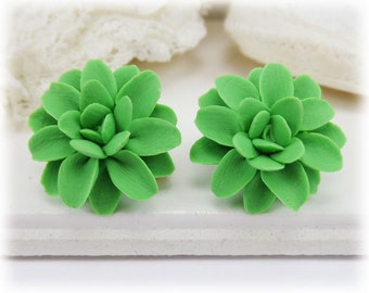 Green Dahlia Earrings Stud or Clip On - Dahlia Jewelry