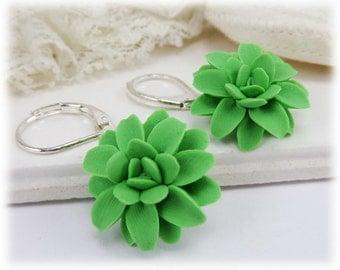 Green Dahlia Dangle Earrings - Green Dahlia Drop Earrings, Green Flower Earrings