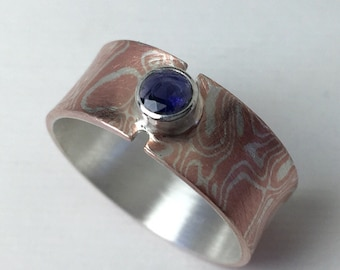 Mokume gane ring with Iolite,  Gemstone Ring, Iolite Ring, Flare Ring