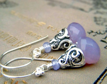 Tanzanite Chalcedony Earrings Sterling Silver Dangle, Lavender Gemstone Briolette Dangle, Lilac Teardrop Stone Earrings