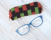 Felted Wool Glasses Case Colorful Patchwork Glasses Case in Brown Green and Orange