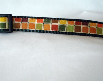 Fall Checkers - Large Dog Collar - 1 Inch Wide - Adjustable Between 15-23 Inches - Fall Colors - READY TO SHIP