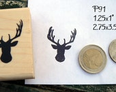 P91 Small deer head stag rubber stamp