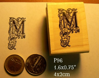P96 Letter M calligraphy rubber stamp