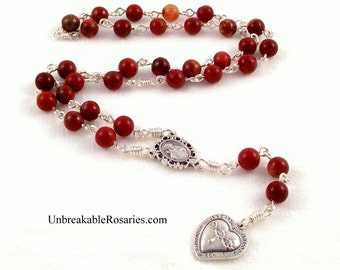 Most Precious Blood of Jesus Rosary Chaplet in Red Jasper by Unbreakable Rosaries