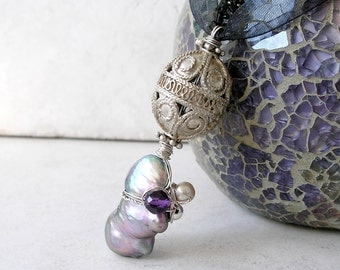 Baroque Pearl Pendant Wire Wrapped Silver Filigree February and June Birthstones Metaphysical Healing Stones