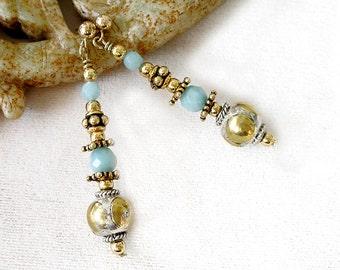 Amazonite Earrings Gold Filled Mixed Metals Ethnic Boho Earrings Healing Stones