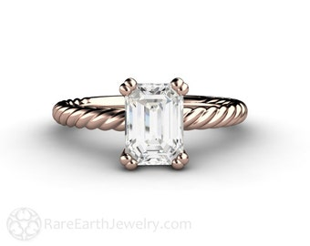 Moissanite Engagement Ring Emerald Cut Forever One Moissanite Solitaire Rope Twist Woven Solitare 14K or 18K Gold Rose Gold