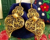 Portuguese folk Heart of Viana earrings gold filigree