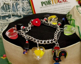 Portuguese Galo Barcelos rooster charm bracelet Hearts