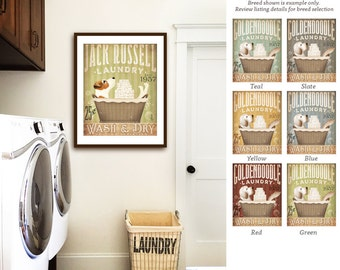 Jack Russell Terrier dog laundry basket company laundry room artwork UNFRAMED signed artists print by stephen fowler geministudio