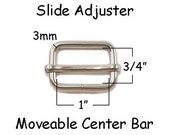 "50 Slide Adjusters / Tri Glides / Tri Bars for Adjustable Straps - 1"" with Movable Center Bar - SEE COUPON"