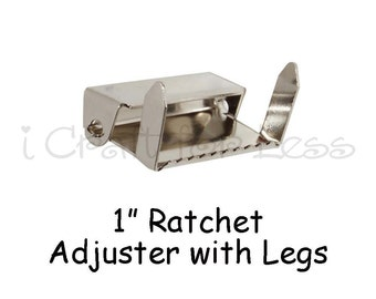 "25 - 1"" Suspender Slide Adjusters / Ratchet Slides with Legs - Nickel Plated - SEE COUPON"