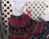 India Gauze Broomstick Skirt , Hippiesque, Festival, Boho Skirt, Floral Printed Gauze, 100 percent Cotton sz 20, XL to medium , Cinch Waist