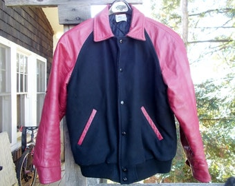 Vintage  Vintage Stadium or Varsity Jacket Red Leather Sleeves Black Wool Torso sz 40 42 Cool Canadian