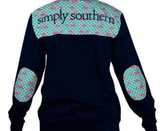 Monogrammed Simply Southern Pullover-Wave