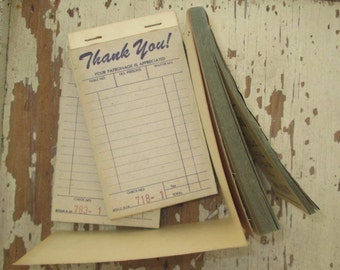 50s Vintage Receipt Pad vintage 50s Diner or Restaurant scrapbooking Paper Ephemera Art Project Craft booth receipts Paper and Carbon