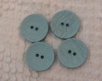 Vintage Light Blue Buttons  - Set of 4 - Wood Grain Look Finish - very nice
