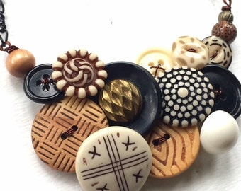 Earthy Tribal Brown Vintage Button Large Statement Necklace - Rustic Brown Black and White Patterns