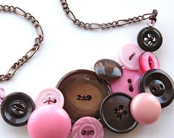 Winter sale Vintage Button Jewelry Pink and Brown Large Statement Necklace