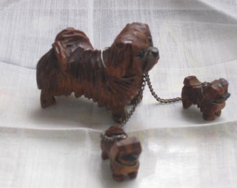 Vintage Wooden Carved Pekinese Dog Family